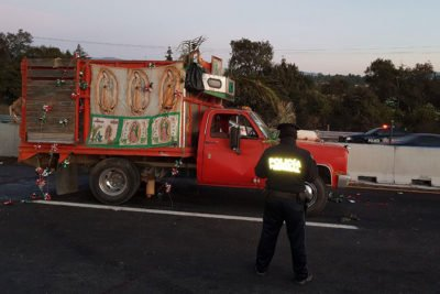 The truck that was carrying pilgrims this morning.
