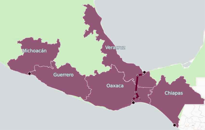 Route of the rail line in Oaxaca and Veracruz.