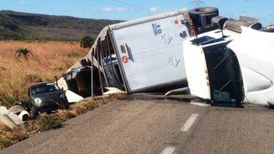 One of the trucks that rolled over in high winds in the Isthmus.