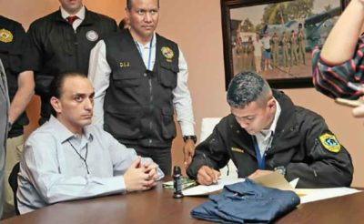 Ex-governor Borge, left, at a hearing last week in Mexico City.