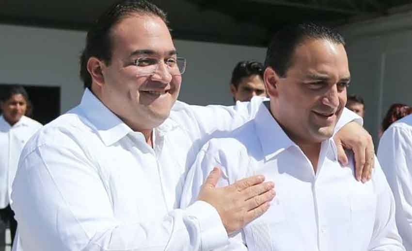 Peas in a pod: ex-governor of Veracruz Javier Duarte, left, and Borge