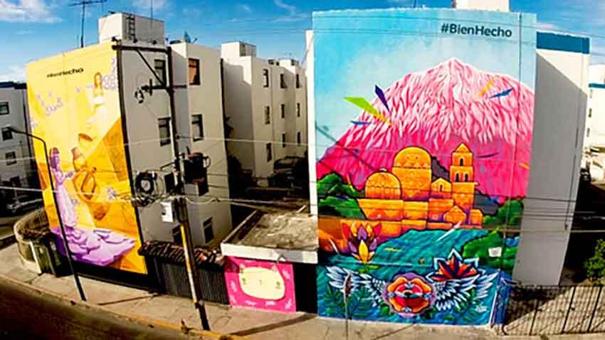 Comex murals in Cholula, Puebla.