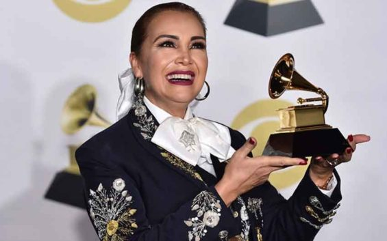 Cuevas and her Grammy Award.