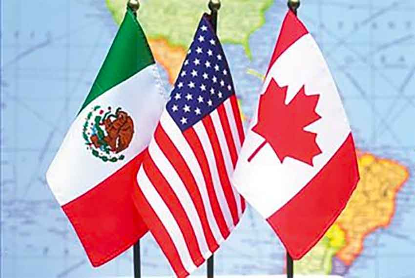 flags of mexico,us, canada