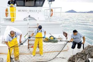 Crew aboard an Ensenada whale museum boat salvage abandoned nets.