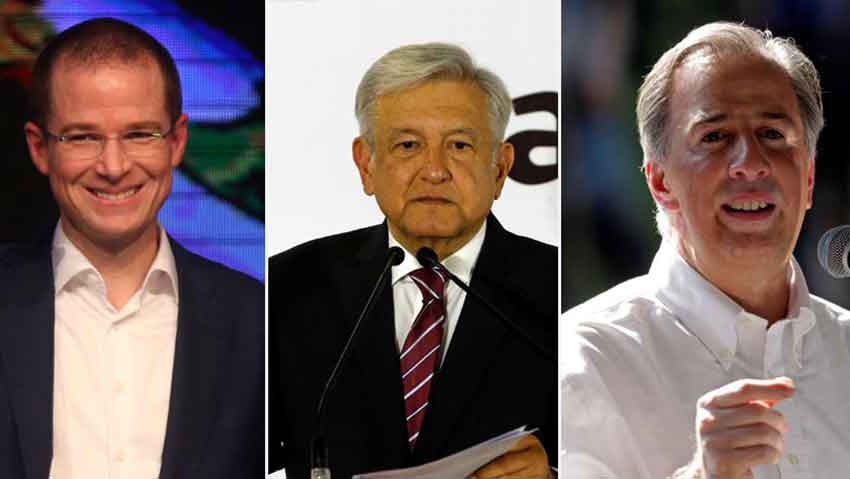 From left, Anaya, AMLO and Meade: presidential candidates.