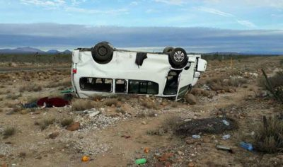 The van after yesterday's accident that killed a campaign worker.