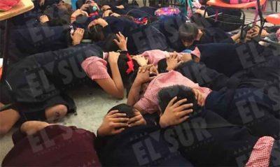 Students practice dodging bullets in Guerrero.