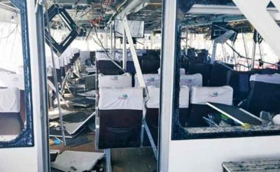 The passenger ferry damaged in last week's explosion.