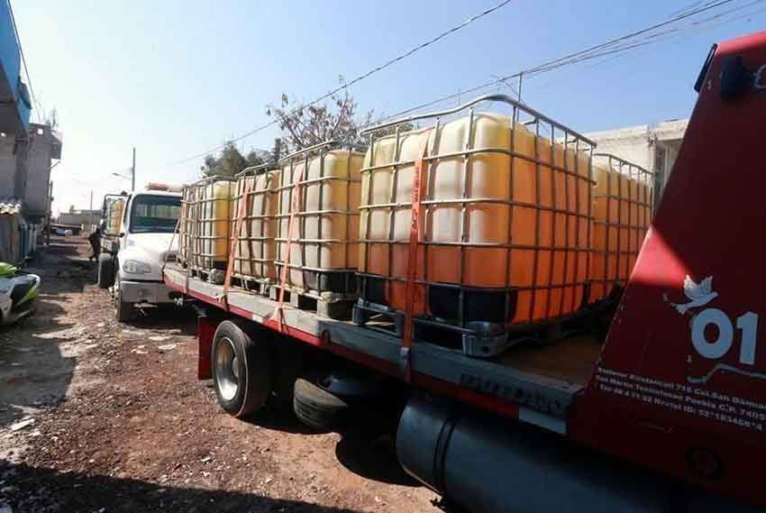 Stolen fuel on its way to market.