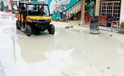 sewage in streets of holbox