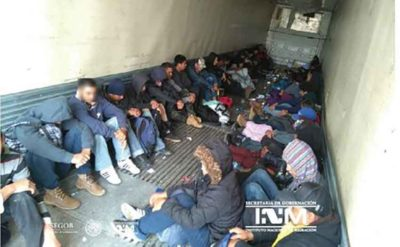 Migrants discovered in a trailer near the US border.