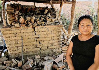 A bread-maker whose oven was destroyed in Friday's quake.