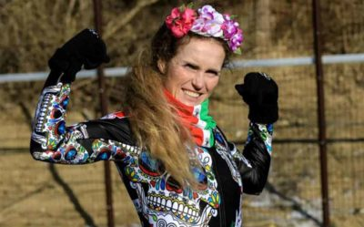 Sarah Schleper in her Day of the Dead ski suit.