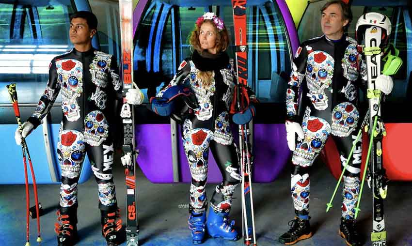 From left, Mexican skiiers Dickson, Schleper and Hohenlohe in their Day of the Dead suits.
