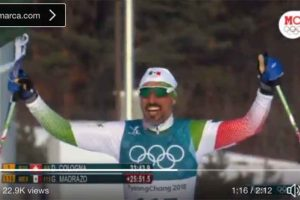 Skier Madrazo finishes his (long) run yesterday in PyeongChang.