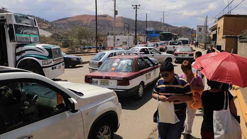 Traffic crawls through the streets of Oaxaca.