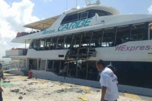 The ferry damaged in an explosion in Playa del Carmen.