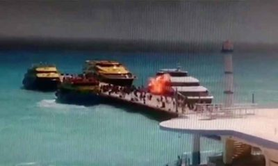 Video footage caught the bomb explosion in Playa del Carmen.