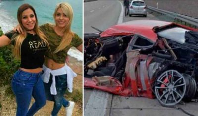 Monday's crash victims and the Ferrari in which they were traveling.