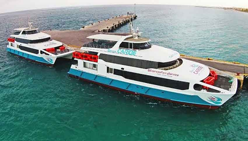 Two of the ferries operated by Barcos Caribe.