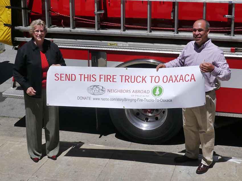 Oaxaca fire official Maza at a fundraising campaign in Palo Alto.