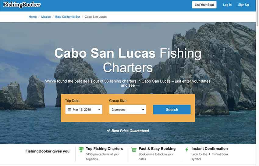 FishingBooker, one of the sites offering charter fishing bookings.