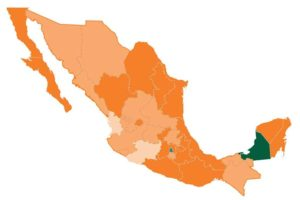 Dark green indicates low impunity levels; dark orange means high levels of impunity.