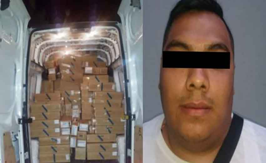 Boxes of iPhones in the van and the suspect.