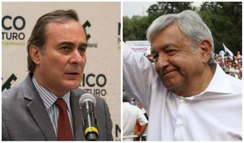 Castañon, left, and AMLO: airport analysis canceled.