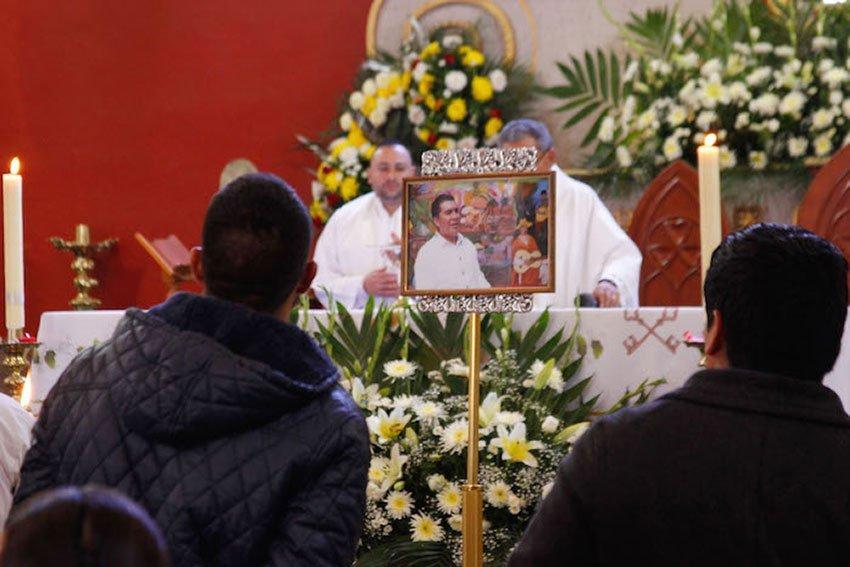 Funeral for a slain mayor in Michoacán.