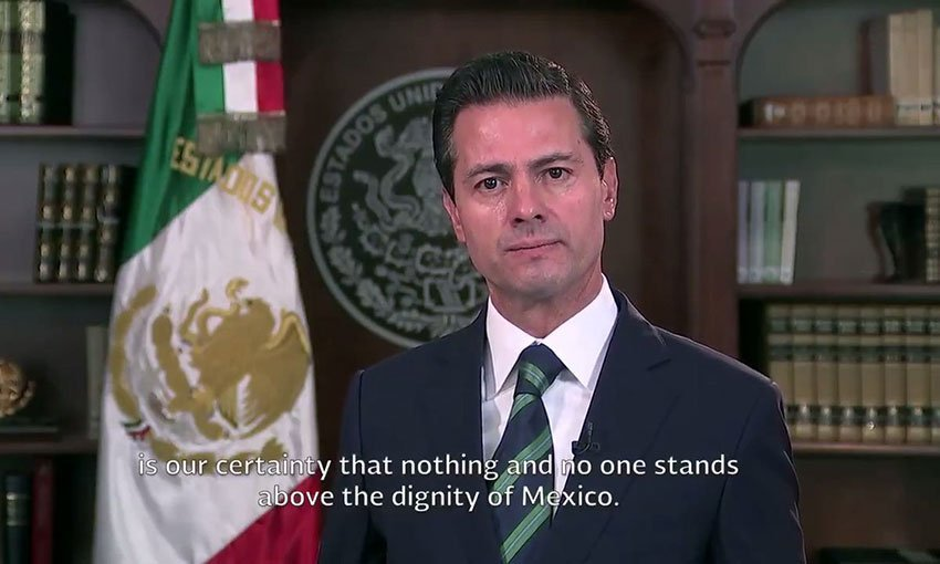 A screenshot from today's video address by Peña Nieto.