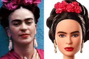 Kahlo, left, and her Barbie likeness.