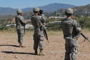 National Guard troops watch the border in Arizona in 2010.