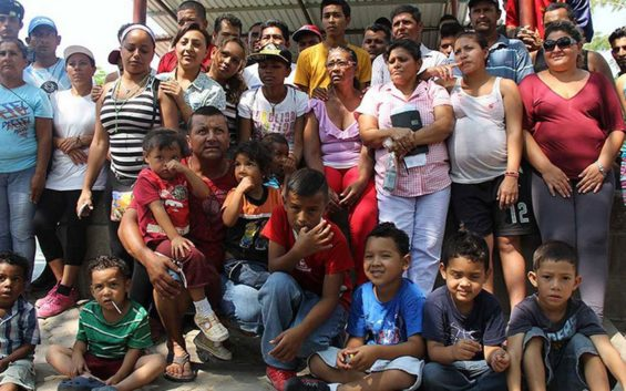 Some of the migrants in Matías Romero this week.