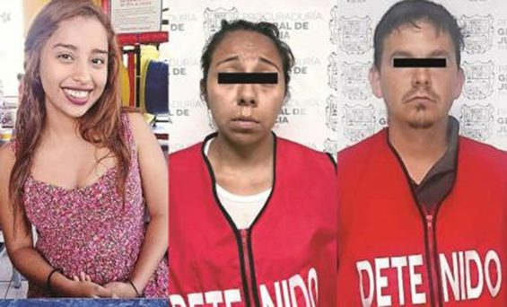 The first victim, left, and her alleged killers.