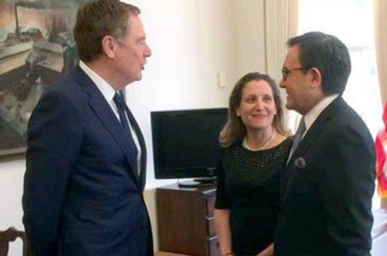 Senior trade negotiators Lighthizer, Freeland and Guajardo.