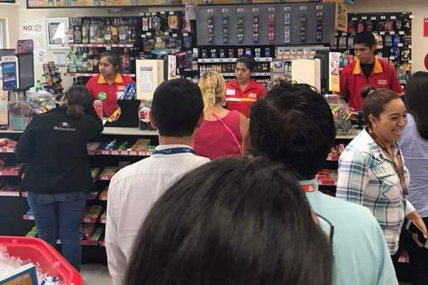A lineup in an Oxxo store.