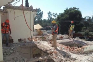 Demolition crew at work.