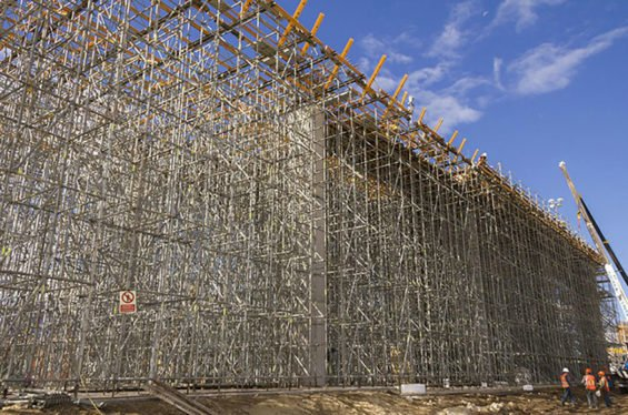 Elaborate formwork on a section of the train project.