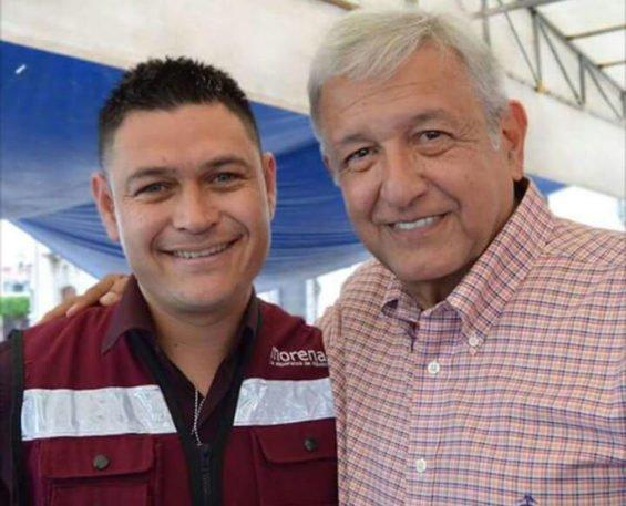Remedios Aguirre, left, and Morena party leader Andrés Manuel López Obrador.