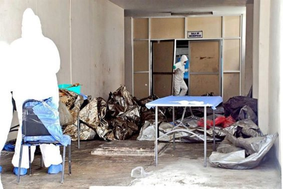 Plastic bags containing bodies in a saturated Guerrero morgue.