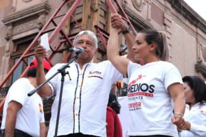 López Obrador with the new candidate for mayor.