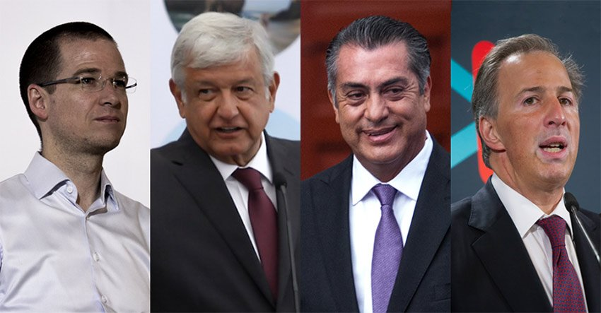 The candidates: Anaya, López Obrador, Rodríguez and Meade.