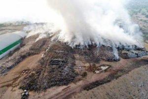 Garbage dump fire in Hidalgo.