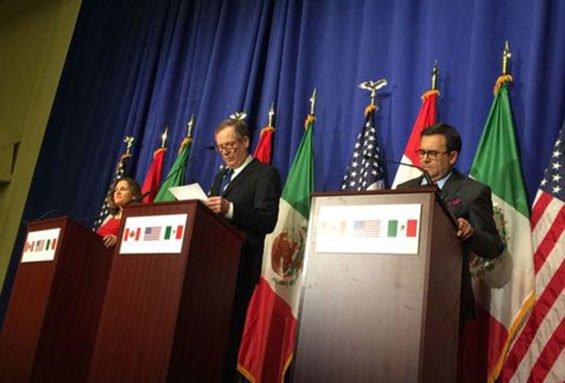 Trade representatives Freeland, Lighthizer and Guajardo.