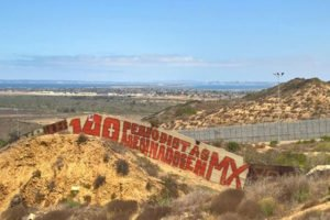 The sign that was painted near Tijuana on the weekend.