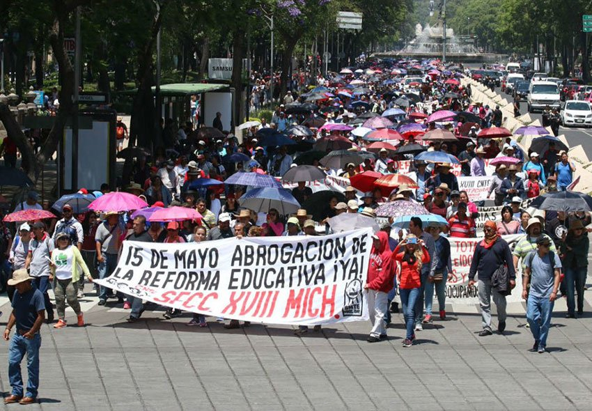 Teachers march in Mexico City today.