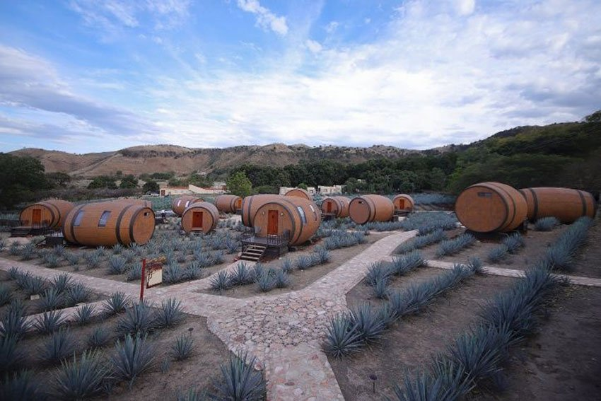 The tequila barrel hotel: stay too long and you'll age.