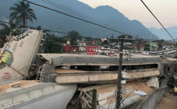 A jumble of damaged railway cars after Saturday's accident.